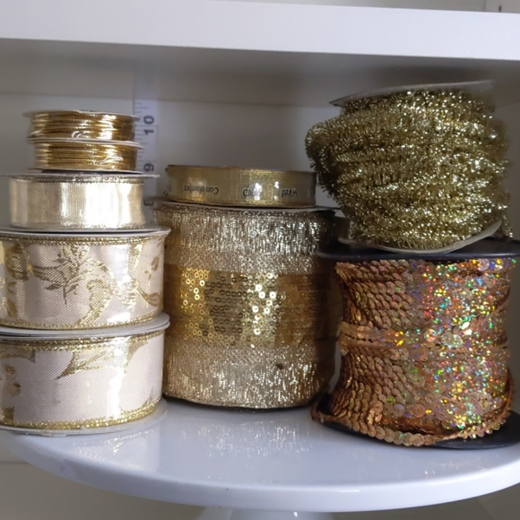 Gold ribbon, wired, rope, sequins, 1 pound